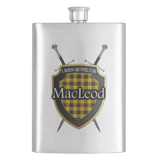 Scottish Clan MacLeod Tartan Shield and Swords Flask