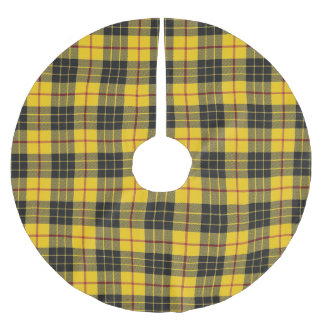 Scottish Clan MacLeod Yellow Black Tartan Brushed Polyester Tree Skirt