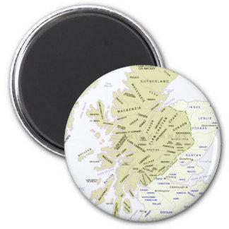 Scottish Clan Map of Scotland 2 Inch Round Magnet