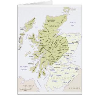 Scottish Clan Map of Scotland Greeting Card