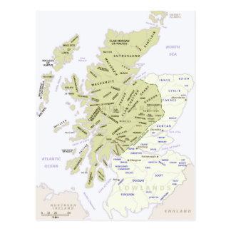 Scottish Clan Map of Scotland Postcard