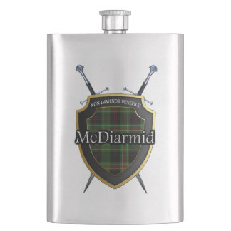 Scottish Clan McDiarmid Tartan Shield and Swords Flask