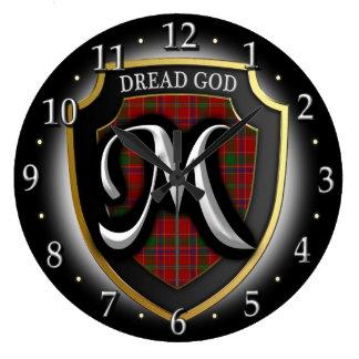 Scottish Clan Munro Munroe Monroe Tartan Shield Large Clock