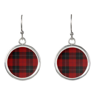 Scottish Clan Ramsay Ramsey Red Black Tartan Plaid Earrings