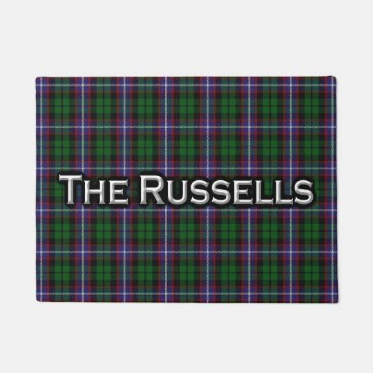 Scottish Clan Russell Tartan Welcome Mat Zazzle Com
