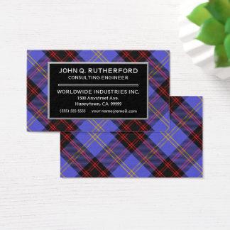 Scottish Clan Rutherford Tartan Plaid Business Card