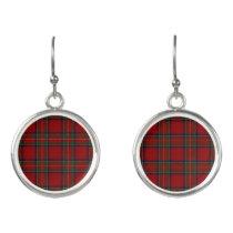 Scottish Clan Stewart Royal Red Tartan Plaid Earrings