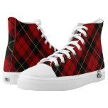 Scottish Clan Wallace Classic Red and Black Tartan High-Top Sneakers