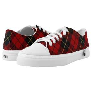 Scottish Clan Wallace Classic Red and Black Tartan Low-Top Sneakers