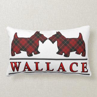 Scottish Clan Wallace Tartan Scottie Dogs Lumbar Pillow