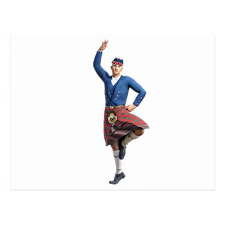 Scottish Dancer with Right Hand Up Postcard