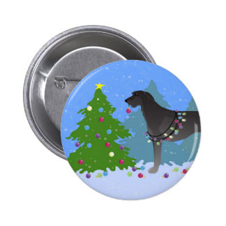 Scottish Deerhound Christmas Tree in the forest Button