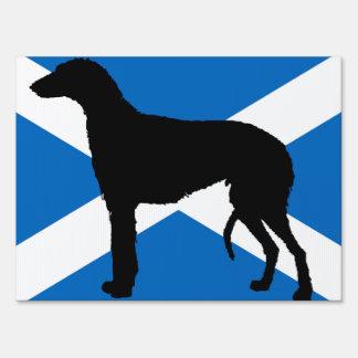 scottish deerhound silhouette Scotland flag.png Yard Sign