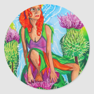 SCOTTISH FAIRY THISTLES CLASSIC ROUND STICKER