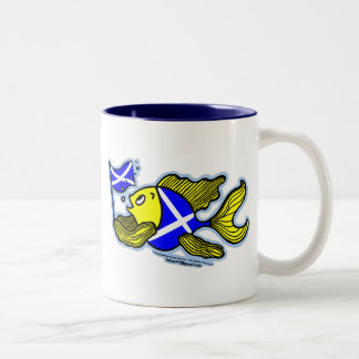Scottish Fish with Scottish Flag Two-Tone Coffee Mug