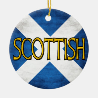 Scottish Flag Collage Double-Sided Ceramic Round Christmas Ornament