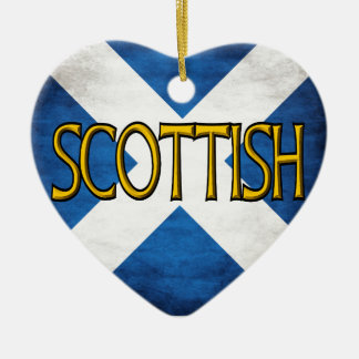Scottish Flag Collage Double-Sided Heart Ceramic Christmas Ornament