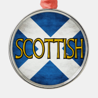Scottish Flag Collage Round Metal Christmas Ornament
