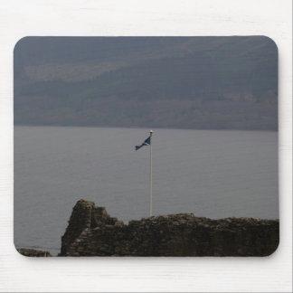 Scottish flag flying high on Urquhart Castle Mouse Pad