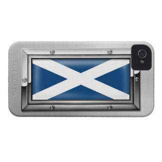 Scottish Flag in a Steel Frame iPhone 4 Case-Mate Cases