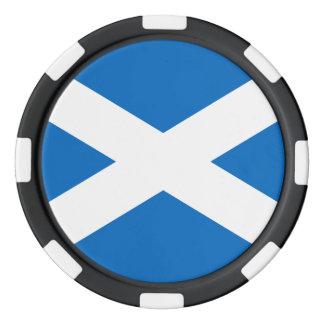 Scottish Flag of Scotland Saint Andrew's Cross Poker Chip Set