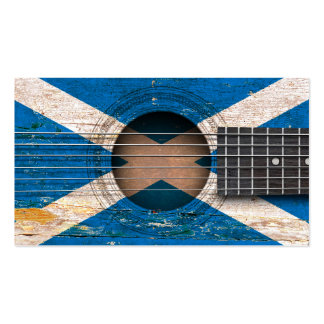 Scottish Flag on Old Acoustic Guitar Double-Sided Standard Business Cards (Pack Of 100)