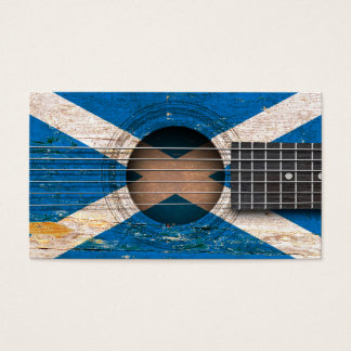 Scottish Flag on Old Acoustic Guitar Business Card