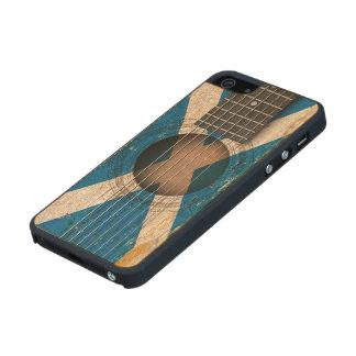 Scottish Flag on Old Acoustic Guitar Carved® Maple iPhone 5 Slim Case
