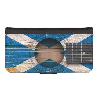 Scottish Flag on Old Acoustic Guitar Phone Wallet