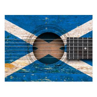 Scottish Flag on Old Acoustic Guitar Postcard