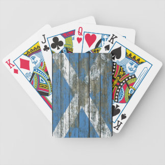 Scottish Flag on Rough Wood Boards Effect Bicycle Playing Cards
