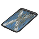 Scottish Flag on Rough Wood Boards Effect Sleeve For iPad Mini