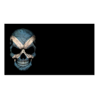 Scottish Flag Skull on Black Double-Sided Standard Business Cards (Pack Of 100)