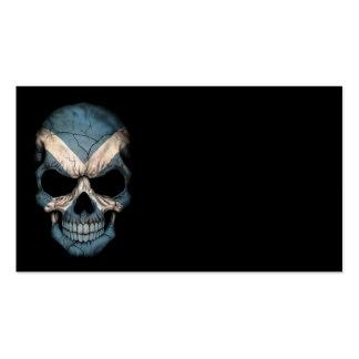 Scottish Flag Skull on Black Business Card