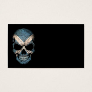 Scottish Flag Skull on Black Business Card