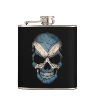 Scottish Flag Skull on Black Hip Flask