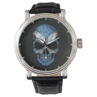Scottish Flag Skull on Steel Mesh Graphic Watch