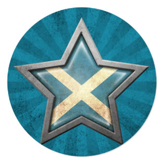 Scottish Flag Star with Rays of Light Card