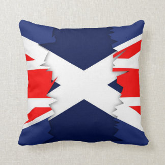 Scottish Flag, Union Jack Ripped Effect Pillow