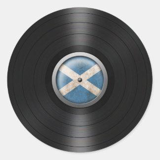 Scottish Flag Vinyl Record Album Graphic Classic Round Sticker