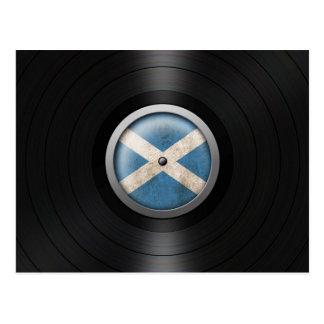 Scottish Flag Vinyl Record Album Graphic Postcard