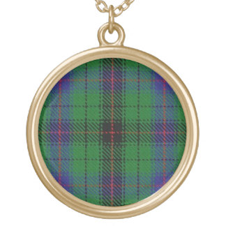 Scottish Flair Clan Davidson Tartan Gold Plated Necklace