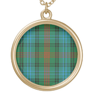 Scottish Flair Clan Ross Tartan Gold Plated Necklace