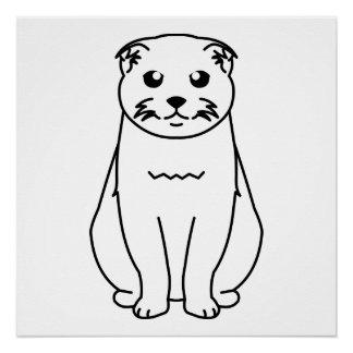 Scottish Fold Cat Cartoon Poster