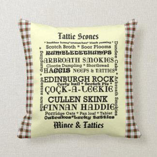 Scottish Food Menu Tartan Cushion