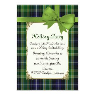 Scottish Green Tartan Plaid Custom Holiday Party 5x7 Paper Invitation Card