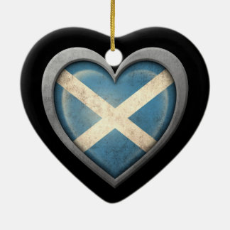 Scottish Heart Flag with Metal Effect Ceramic Ornament