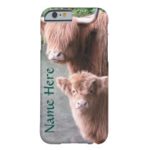 Scottish Highland Cattle, Cow and Calf Barely There iPhone 6 Case