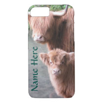 Scottish Highland Cattle, Cow and Calf iPhone 7 Case