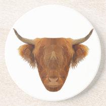 Scottish Highland Cattle Scotland Animal Cow Sandstone Coaster